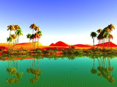 Stock Illustration of African oasis