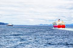 Ferry boat at the sea - stock photo