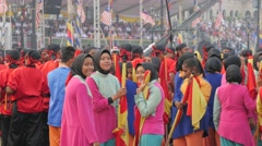 Colorful dresses veiled women,Kuala Lumpur,Malaysia - stock footage