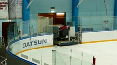 Arena Balashikha, ice preparation for hockey game.  Stock Footage
