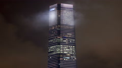 ICC building kowloon Hong Kong at night 4th largest building in the world. - stock footage