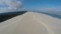 Aerial view of the Dune du Pilat - the largest sand dune in Europe, Arcachon Stock Footage
