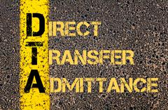 Business Acronym DTA as DIRECT TRANSFER ADMITTANCE - stock illustration