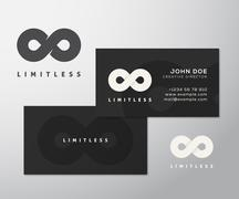 Abstract Vector Limitless Infinity Symbol, Icon or a Logo with Business Card - stock illustration