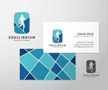 Equilibrist or a Tightrope Walker Abstract Vector Sign, Logo Template, Label - stock illustration