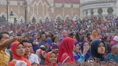 Veiled women at independence day,Kuala Lumpur,Malaysia - stock footage