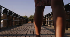 Rear view of two friends enjoying a day out in London. Shot on RED Epic. Stock Footage