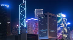 Hong Kong Corporate Buildings and timelapse. Stock Footage
