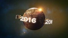 2016 - Happy New Year world in space with sunrise Stock Footage