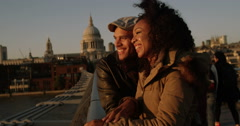 African American couple enjoying a day out in London. Shot on RED Epic. Stock Footage