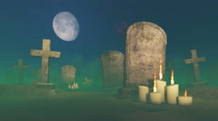 Lighted candles near the old gravestone - stock footage