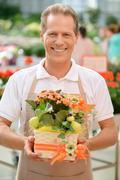 Professional florist workin gin the greenhouse - stock photo