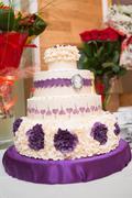 White multi level wedding cake Stock Photos