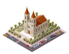 Vector isometric church - stock illustration