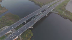 Aerial view of Cars on the bridge - stock footage