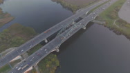 Stock Video Footage of Aerial view of Cars on the bridge