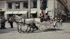 Horse carriage accompany tourists visiting the city of Vienna Stock Footage