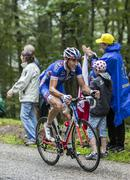 The cyclist Matthieu Ladagnous on Col de Platzerwasel - Tour de France 2014 Stock Photos