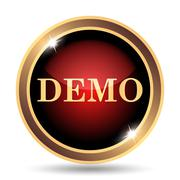 Demo icon. Internet button on white background.. Stock Illustration