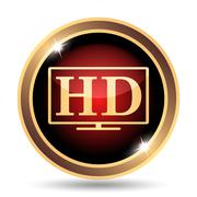 Stock Illustration of HD TV icon. Internet button on white background..