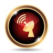 Wireless antenna icon. Internet button on white background.. - stock illustration