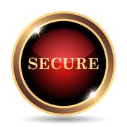 Secure icon. Internet button on white background.. - stock illustration