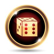 Stock Illustration of Dice icon. Internet button on white background..