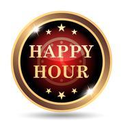 Happy hour icon. Internet button on white background.. - stock illustration