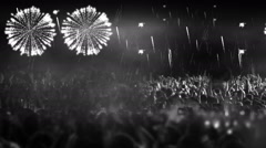 crowd of people and fireworks explosions (slider cam colorless) - stock footage