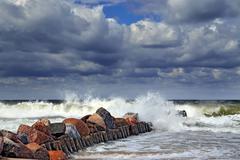 Stormy Baltic sea and breakwater Kuvituskuvat