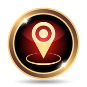 Pin location icon. Internet button on white background.. Stock Illustration