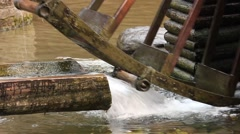 Water Mill - Water Hitting the Water Mill Wheel 4 Stock Footage