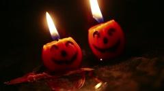 Jack O' Lantern Candles - stock footage