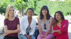 4K Portrait of happy attractive female friends outdoors in the city  - stock footage