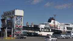 A Ferries At Dock At Calais Ferry Terminal - France Stock Footage