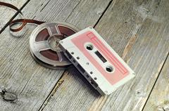 Old cassete and tape Stock Photos