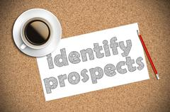 Coffee and pencil sketch identify prospects on paper Stock Photos