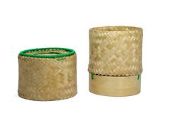 Stock Photo of Wicker Bamboo sticky rice tradition handicraft with white background