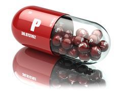 Pills with phosphorus P element Dietary supplements. Vitamin capsules. Stock Illustration