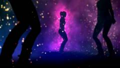 Three sexy silhouette girls dancing. Camera static. Easy to loop. Stock Footage