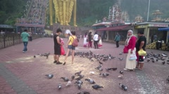 Batu Caves - Tourists Feeding Pigeons At Forecourt Stock Footage