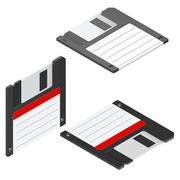Floppy disc isometric icon set - stock illustration
