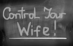 Stock Illustration of Control Your Wife Concept