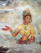 Sigiriya maiden - frescoes at fortress in Sri Lanka Stock Photos
