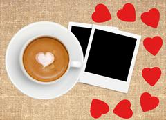 Border frame of red hearts on sack canvas burlap, coffee and photo card - stock photo