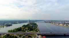 Aerial video of a bridge over a river, Riga, Latvia - stock footage
