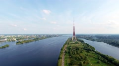 Aerial video of a river and TV tower in Riga, Latvia - stock footage