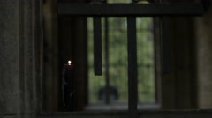 Burning black candle Stock Footage