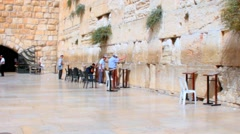 Stock Video Footage of Unidentified jewish worshipers  near the Western Wall an important jewish site