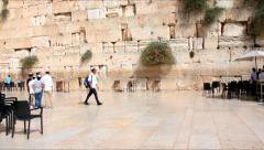 Unidentified jewish children near the Western Wall an important jewish site - stock footage